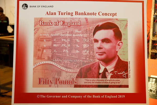 The banknote concept of a new £50 note featuring mathematician Alan Turing is presented at the Science and Industry Museum in Manchester, Britain, July 15, 2019 (Photo: REUTERS/Andrew Yates).