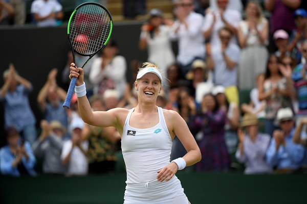 Tennis - Wimbledon - All England Lawn Tennis and Croquet Club, London, Britain - July 8, 2019 Alison Riske of the US celebrates winning her fourth round match against Australia's Ashleigh Barty (Photo: REUTERS/Toby Melville).
