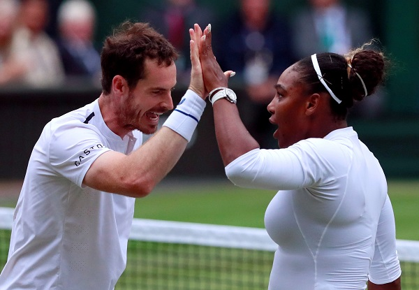Tennis - Wimbledon - All England Lawn Tennis and Croquet Club, London, Britain - July 9, 2019 Britain's Andy Murray and Serena Williams of the US react during their second round mixed doubles match against France's Fabrice Martin and Raquel Atawo of the US (Photo: REUTERS/Andrew Couldridge).