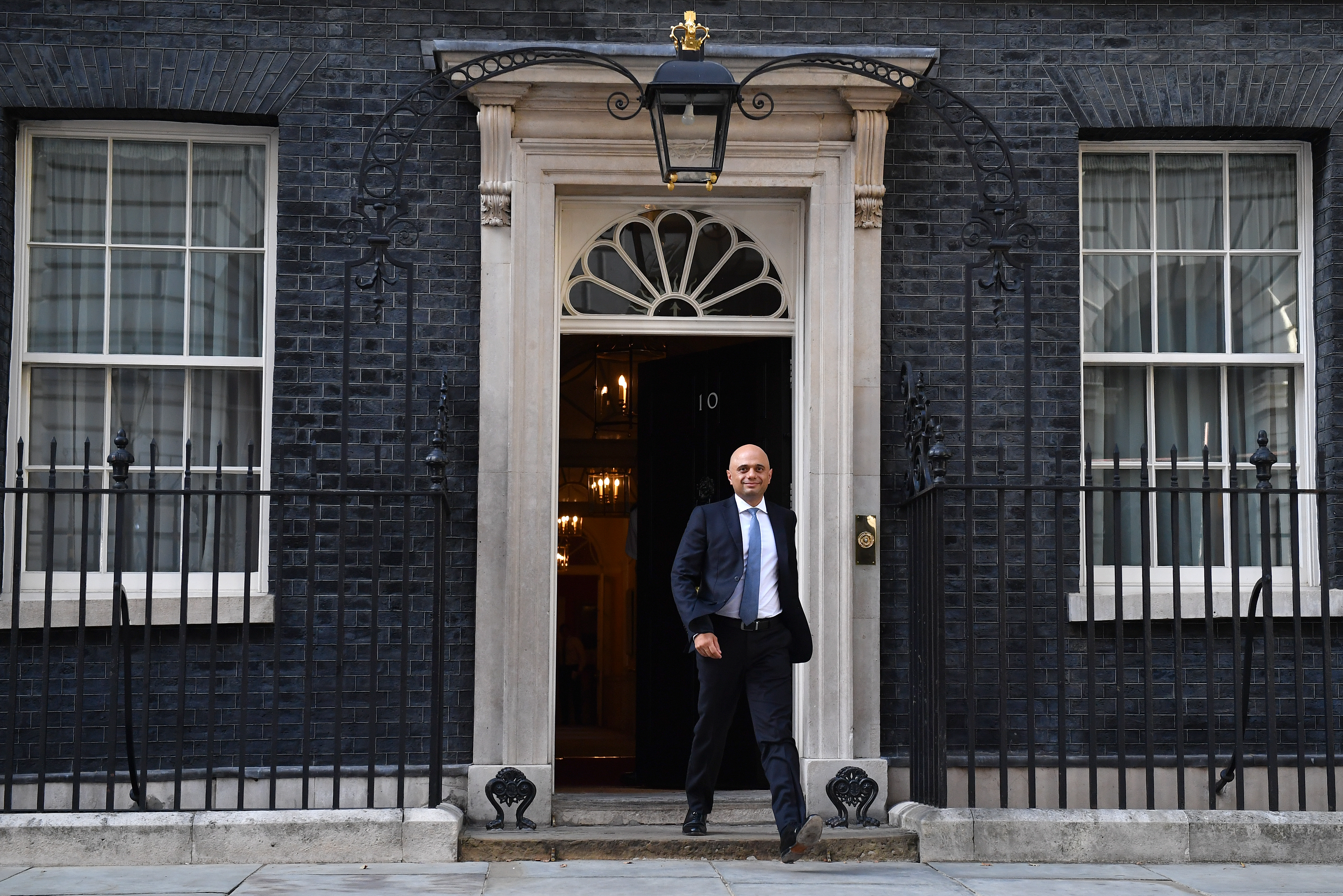 LONDON, ENGLAND - JULY 24: Sajid Javid leaves Number 10, Downing Street after being appointed Chancellor of the Exchequer on July 24, 2019 in London, England. Boris Johnson took the office of Prime Minister of the United Kingdom of Great Britain and Northern Ireland this afternoon and immediately began appointing new Cabinet Ministers. Former Foreign secretary and leadership rival Jeremy Hunt returns to the back benches, along with Liam Fox, Jeremy Wright, Penny Mordaunt and Karen Bradley.  (Photo by Jeff J Mitchell/Getty Images)