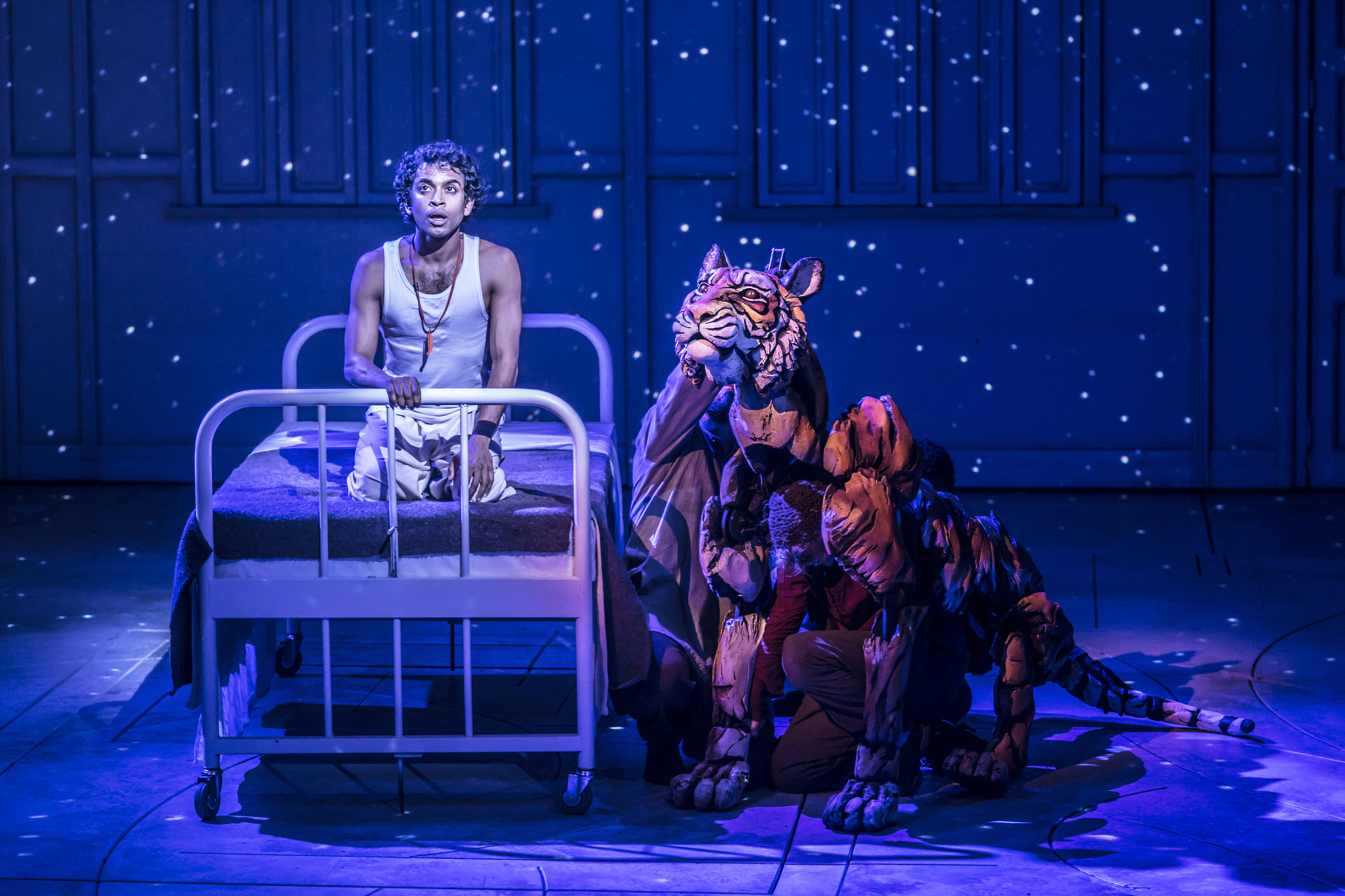 MAGICAL: Hiran Abeysekera stars as Pi alongside the puppet form of the tiger designed by Nick Barnes and Finn Caldwell (Pic credit: Johan Persson)