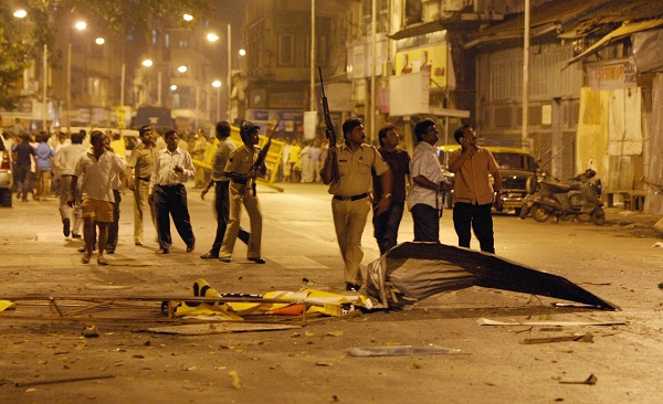 Indian policeman prepare to take position at the site of attack in Colaba area of Mumbai on November 27, 2008 (Photo: INDRANIL MUKHERJEE/AFP/Getty Images).