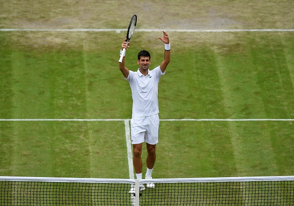 Tennis - Wimbledon - All England Lawn Tennis and Croquet Club, London, Britain - July 8, 2019 Serbia's Novak Djokovic celebrates after winning his fourth round match against France's Ugo Humbert (Photo: REUTERS/Tony O'Brien).
