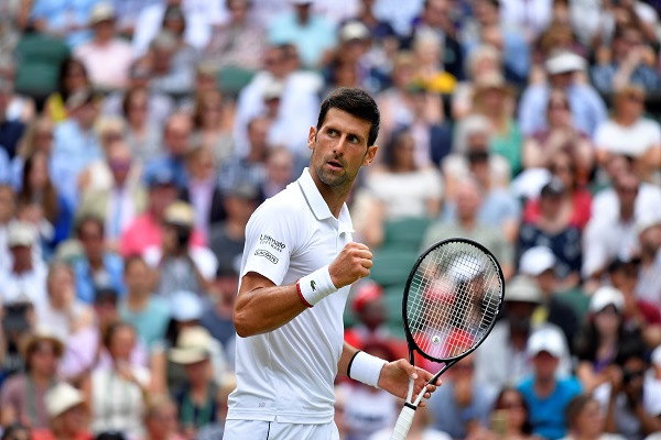 Tennis - Wimbledon - All England Lawn Tennis and Croquet Club, London, Britain - July 10, 2019 Serbia's Novak Djokovic celebrates during his quarter final match against Belgium's David Goffin (Photo: REUTERS/Toby Melville).