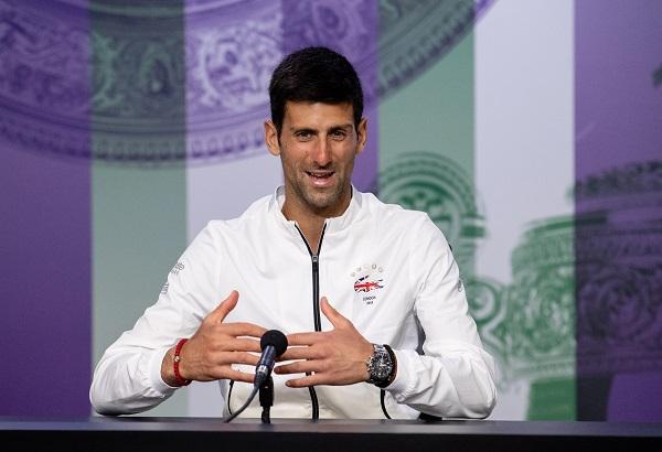 Tennis - Wimbledon - All England Lawn Tennis and Croquet Club, London, Britain - July 14, 2019 Serbia's Novak Djokovic during a press conference after winning the men's singles final (Joe Toth/Pool via REUTERS).