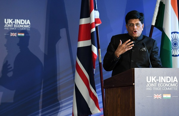 Piyush Ved Prakash Goyal, the Indian minister of Railways and Commerce speaking at an India-UK Joint Economic and Trade Committee on July 15, 2019 in London, England. (Photo: Stefan Rousseau - WPA Pool/Getty Images).