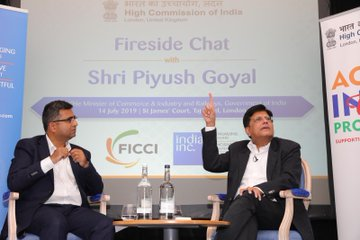 During his hour long interaction with the Indian diaspora the Indian minister explained the strategy and focus of the newly elected Indian government (Photo: @PiyushGoyal/ Twitter).
