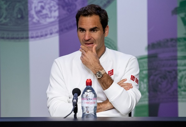 Tennis - Wimbledon - All England Lawn Tennis and Croquet Club, London, Britain - July 14, 2019 Switzerland's Roger Federer during a press conference after the final (Joe Toth/Pool via REUTERS).