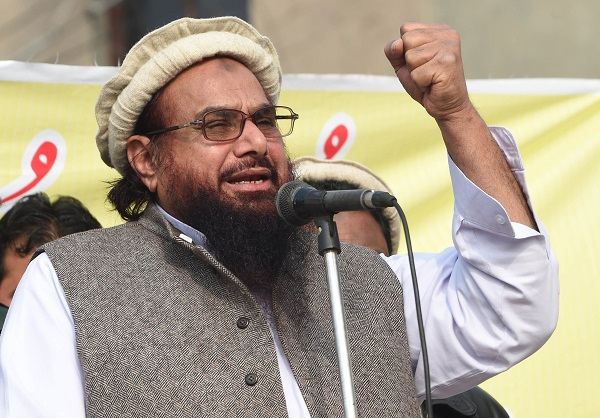 Saeed's arrest came just ahead of a visit to Washington by prime minister Imran Khan and was widely seen as a move by the Islamabad government to smoothe the way before a meeting with US president Donald Trump  (Photo credit should read Arif Ali/AFP/Getty Images).