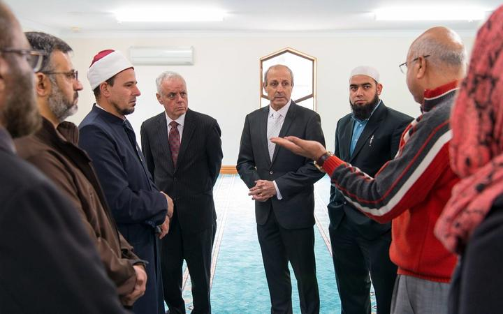 Imam Gamal Fouda at Al Noor mosque (left), and Anwar Ghani from Fianz (right) explain what happened on March 15th to Stephen Goodman and Vic Alhadeff (centre)