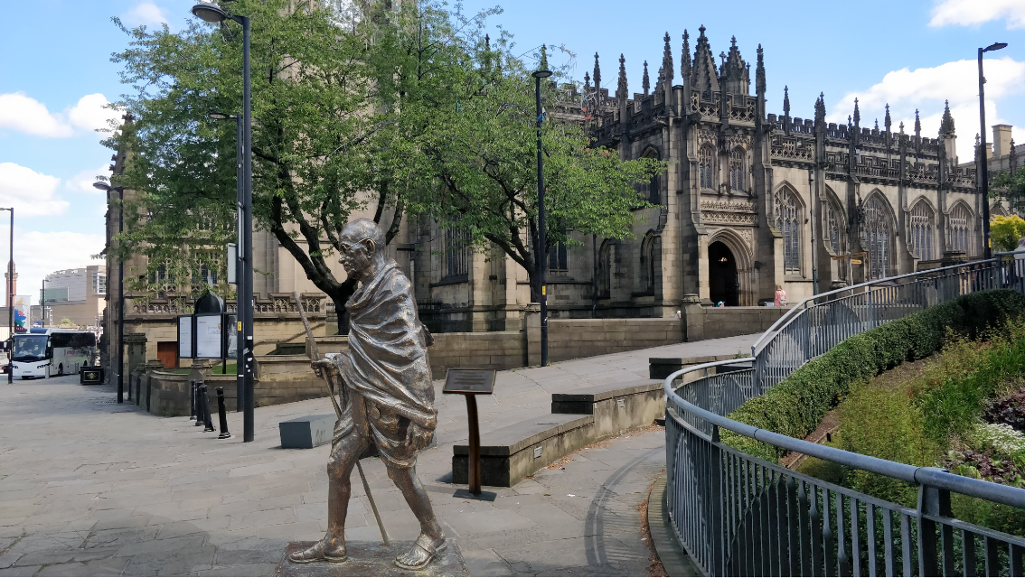 The 9ft high, 800kg statue crafted by artist Ram V Sutar will be installed outside the Manchester Cathedral.