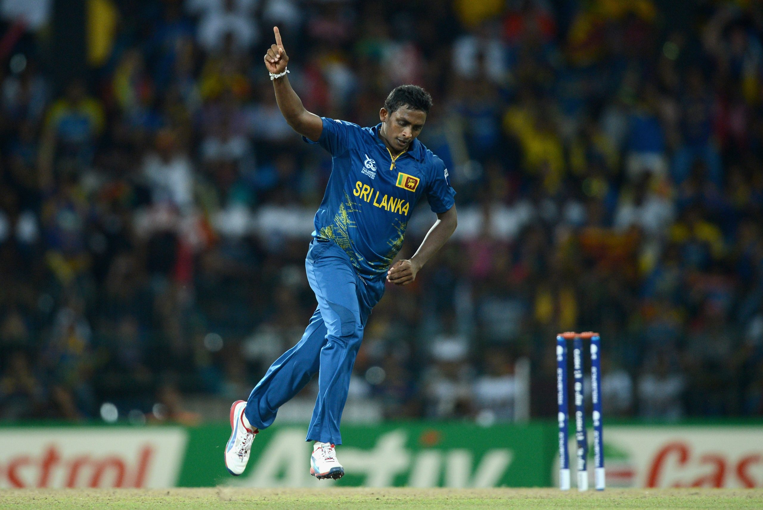 Ajantha Mendis  (Photo by Gareth Copley/Getty Images)
