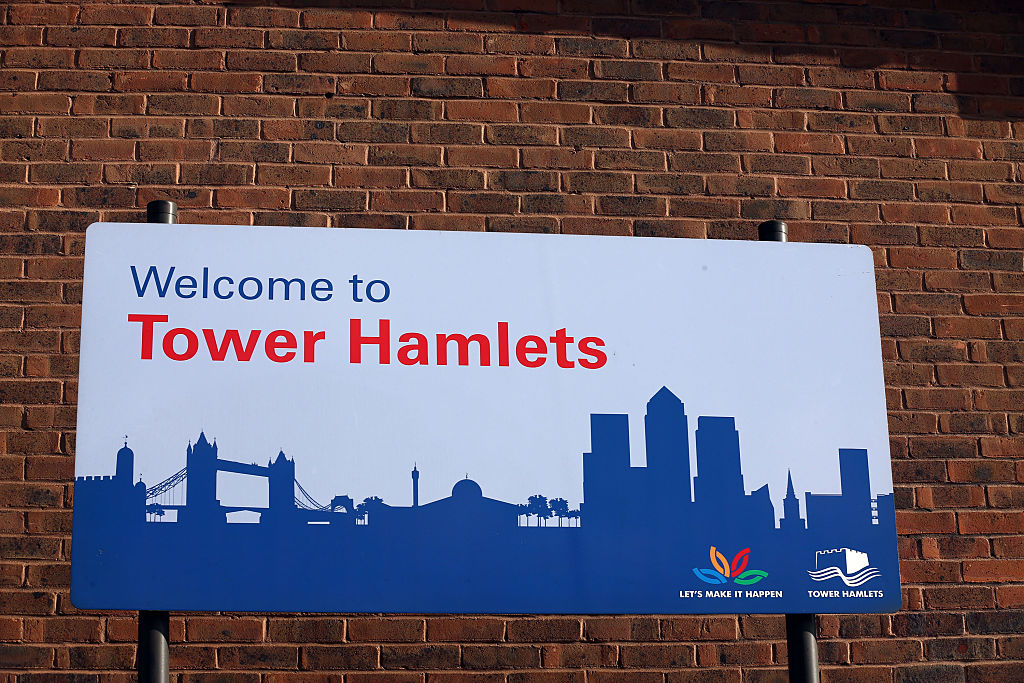 A sign welcoming people to the London borough of Tower Hamlets is pictured.  (Photo by Carl Court/Getty Images)