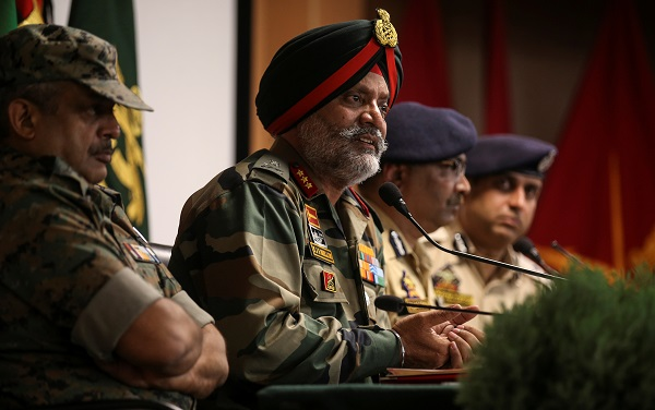 Indian Army's Lieutenant General KJS Dhillon speaks during a news conference in Srinagar, August 2, 2019 (Photo: REUTERS/Danish Ismail).