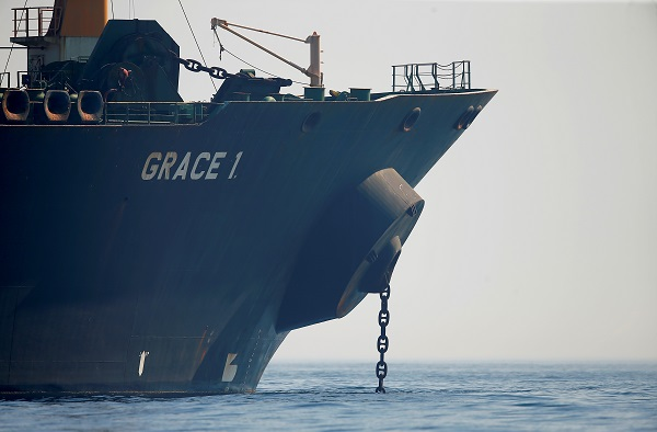 Iranian oil tanker Grace 1 sits anchored awaiting a court ruling on whether it can be freed after it was seized in July by British Royal Marines off the coast of the British Mediterranean territory, in the Strait of Gibraltar, southern Spain (REUTERS/Jon Nazca).