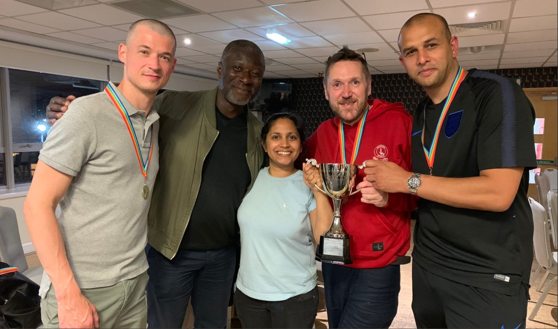 Ex-Charlton midfielder Paul Mortimer and FSF exec Anwar Uddin join Proud Valiants at the 2019 end-of-season Charlton vs Homophobia tournament. (Photo: Twitter)