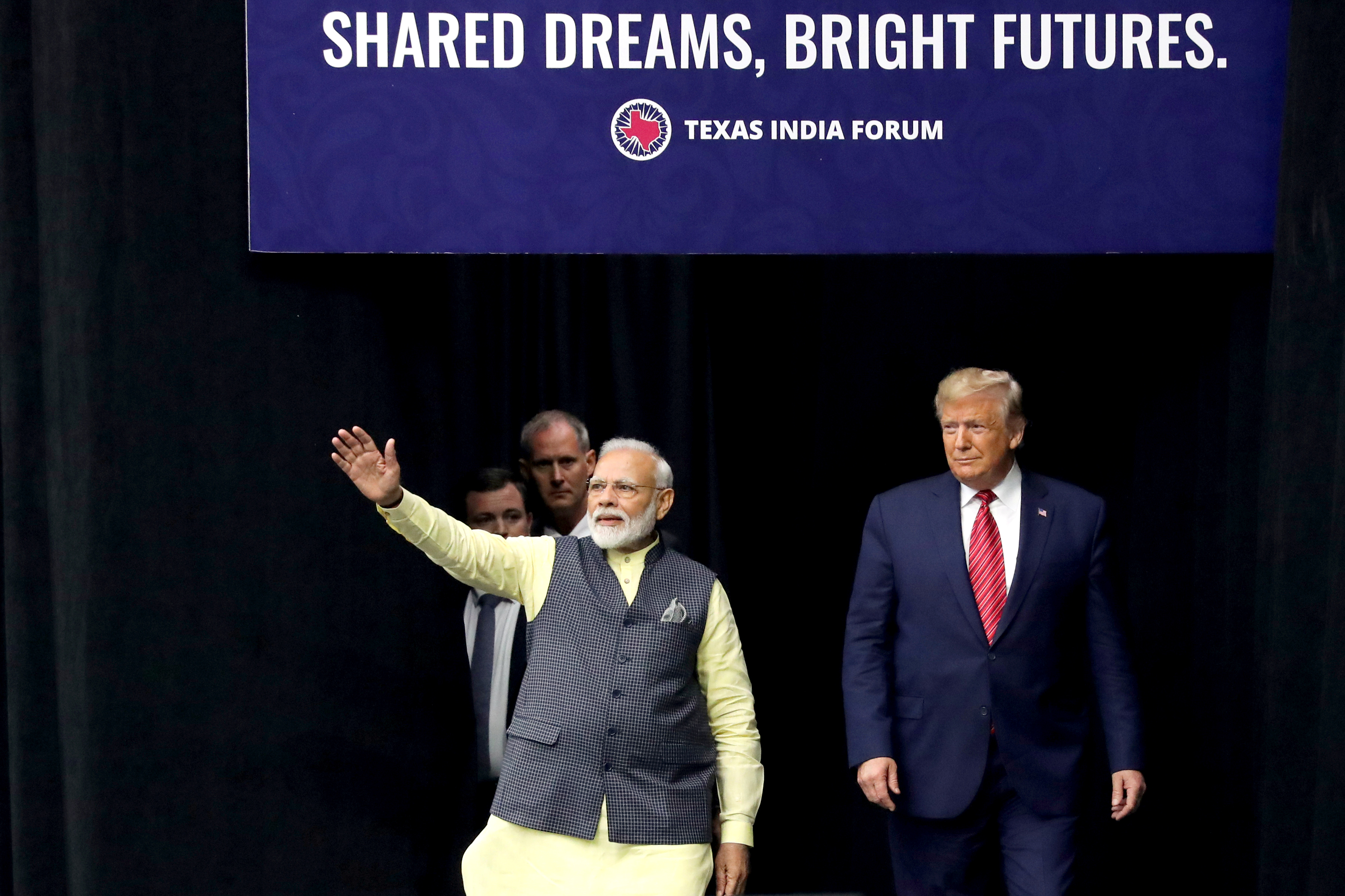 "U.S. President Donald Trump and India's Prime Minister Narendra Modi participate in the ""Howdy Modi"" event in Houston, Texas, U.S., September 22, 2019. REUTERS/Jonathan Ernst"