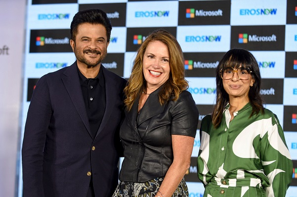 Bollywood actor Anil Kapoor (L), Executive Vice President of Business Development at Microsoft Corp Peggy Johnson (C) and CEO at Eros Digital Rishika Lulla Singh (R) pose for photographs during the launch of new streaming service 'Eros Now' in collaboration with Microsoft in Mumbai on September 19, 2019 (Photo: SUJIT JAISWAL/AFP/Getty Images).