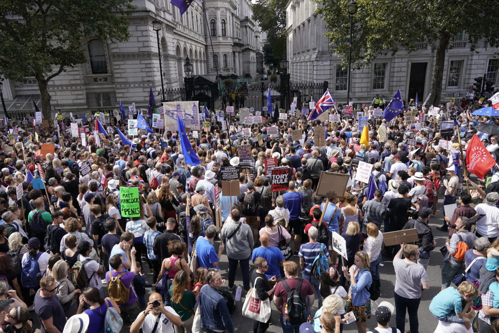 Anti-Brexit demonstrators protest in Whitehall. (Photo by Chris Furlong/Getty Images)