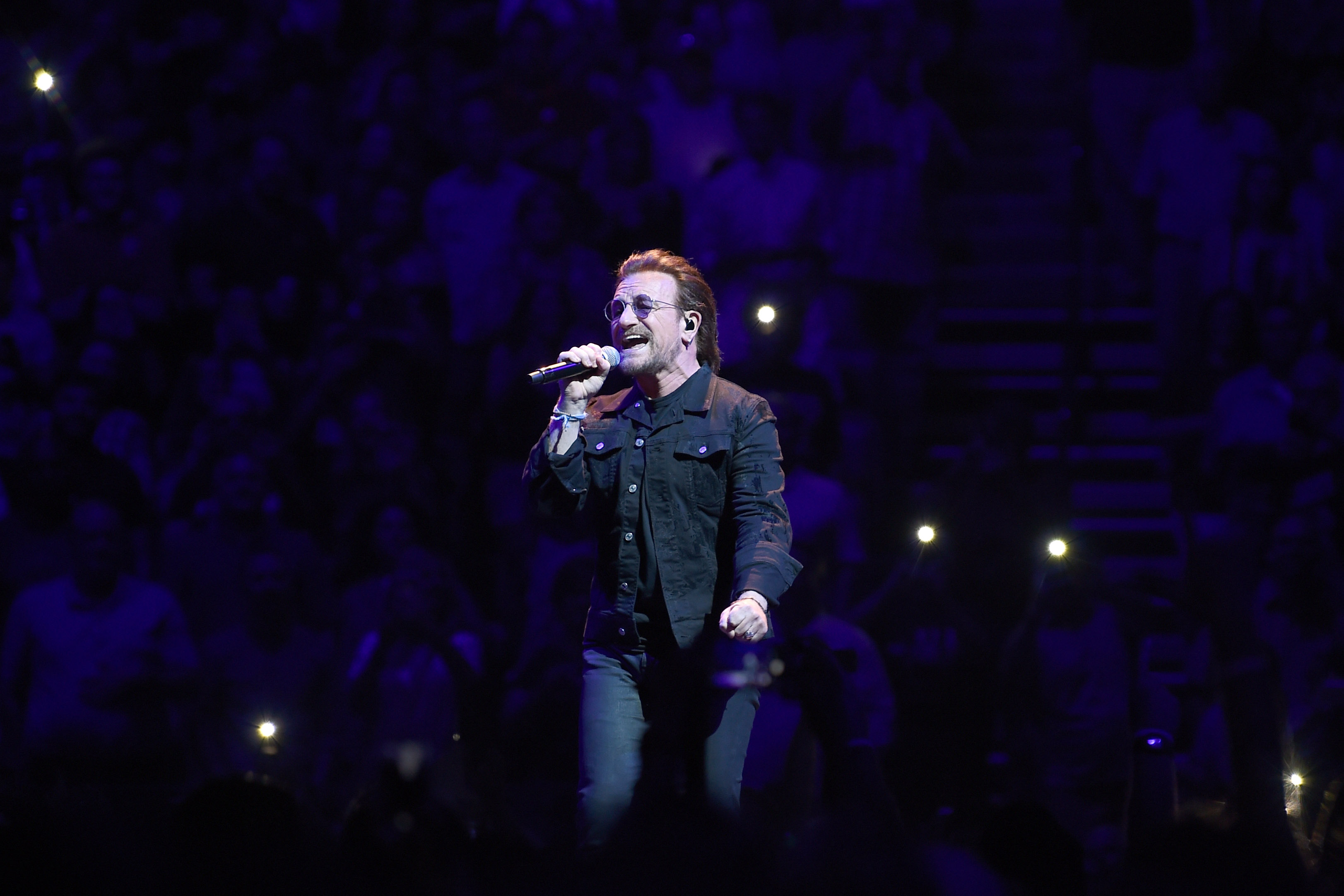 Bono of the rock band U2 performs at Bridgestone Arena on May 26, 2018 in Nashville, Tennessee.  (Photo by Jason Kempin/Getty Images)