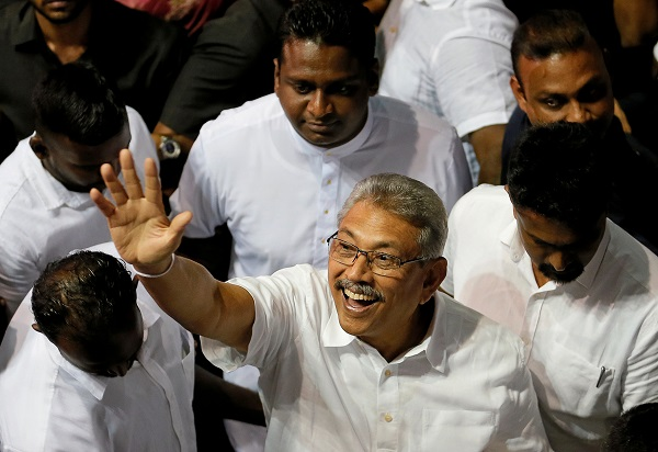 Rajapaksa is widely seen as the election frontrunner because of his popularity among majority Sinhala Buddhists over his role in ending a 26-year civil war in 2009, ushering in a decade of relative peace until Easter Day bombings that killed 250 people (REUTERS/Dinuka Liyanawatte/File Photo).