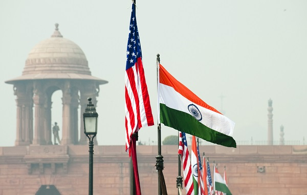 Indian and US national flags are seen in front of Vijay Chowk in New Delhi  (Photo: MANPREET ROMANA/AFP/Getty Images)