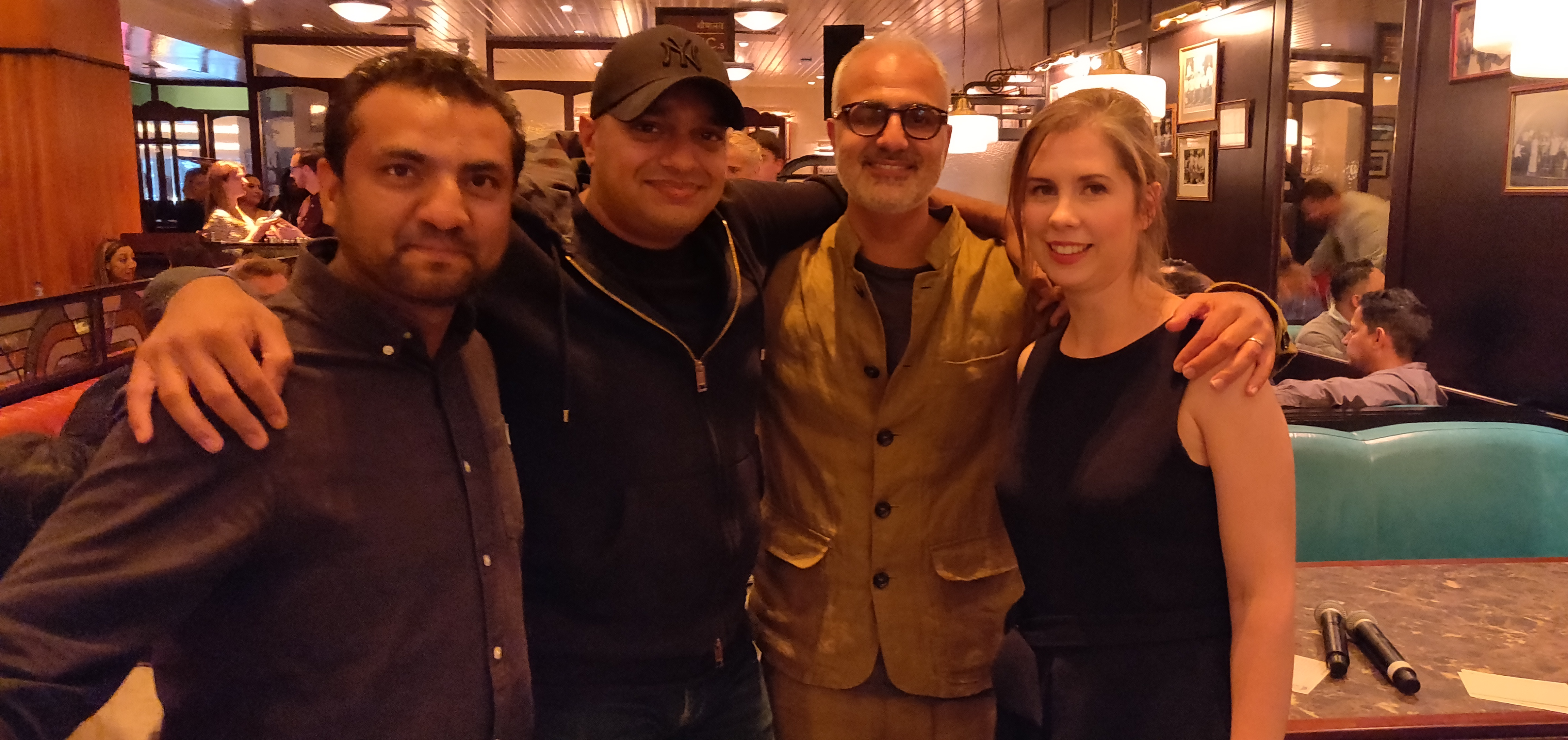 MEMORIES: (From left) Naved Nasir, Kavi and Shamil Thakrar, and a Bloomsbury's Natalie Bellos at the 'Dishoom: From Bombay with Love' book launch