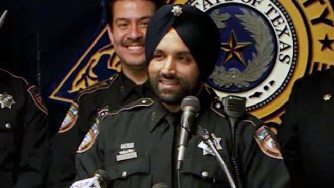 Dhaliwal, 42, who made national headlines when he was allowed to grow a beard and wear a turban on the job in the US state of Texas, was gunned down while conducting a mid-day traffic stop in northwest of Houston last week (Photo: @SenTedCruz/Twitter).