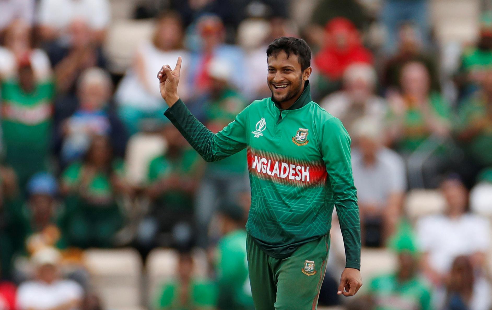 Shakib Al Hasan celebrates taking a wicket.  Action Images via Reuters/John Sibley/File Photo