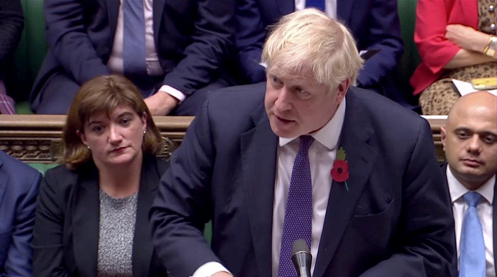 """It is the long-standing position of the UK government that the crisis in Kashmir is fundamentally a matter for India and Pakistan to resolve. And it is not – alas, since we were there at the very beginning – it is not for us as the UK to prescribe a solution in that dispute,"" Johnson said (Parliament TV via REUTERS)."