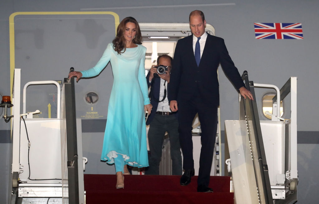 Catherine, Duchess of Cambridge and Prince William, Duke of Cambridge arrive at Kur Khan airbase ahead of their royal tour of Pakistan on October 14, 2019 in Rawalpindi, Pakistan. (Photo by Chris Jackson/Getty Images)