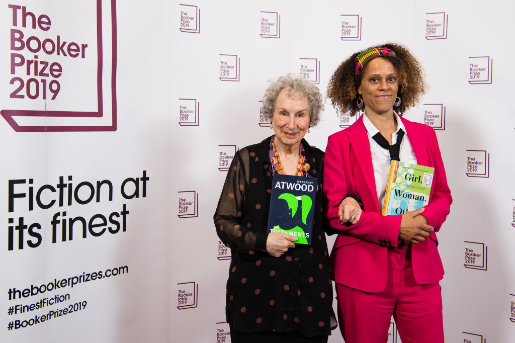 Joint winners Margaret Atwood and Bernardine Evaristo during 2019 Booker Prize Winner Announcement photocall at Guildhall on October 14, 2019 in London, England. (Photo by Jeff Spicer/Getty Images)