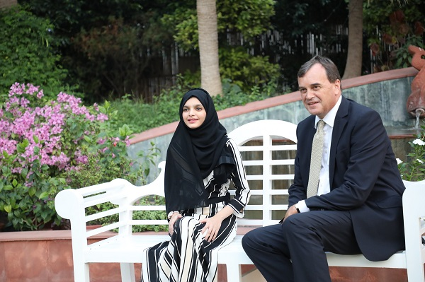 AyeshaKhan also met leaders from business, foreign policy, and civil society and participated in other programmes scheduled for the day (Photo: AyeshaKhan With Sir Dominic Asquith/UKinIndia Flickr page).