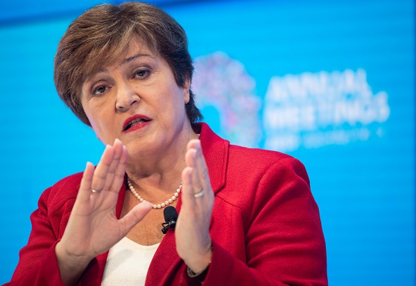 """""""In 2019, we expect slower growth in nearly 90 per cent of the world. The global economy is now in a synchronized slowdown,"""" Georgieva said on Tuesday (8) in her curtain raiser speech for the IMF and World Bank's annual meeting here next week (Photo: NICHOLAS KAMM/AFP via Getty Images)."""