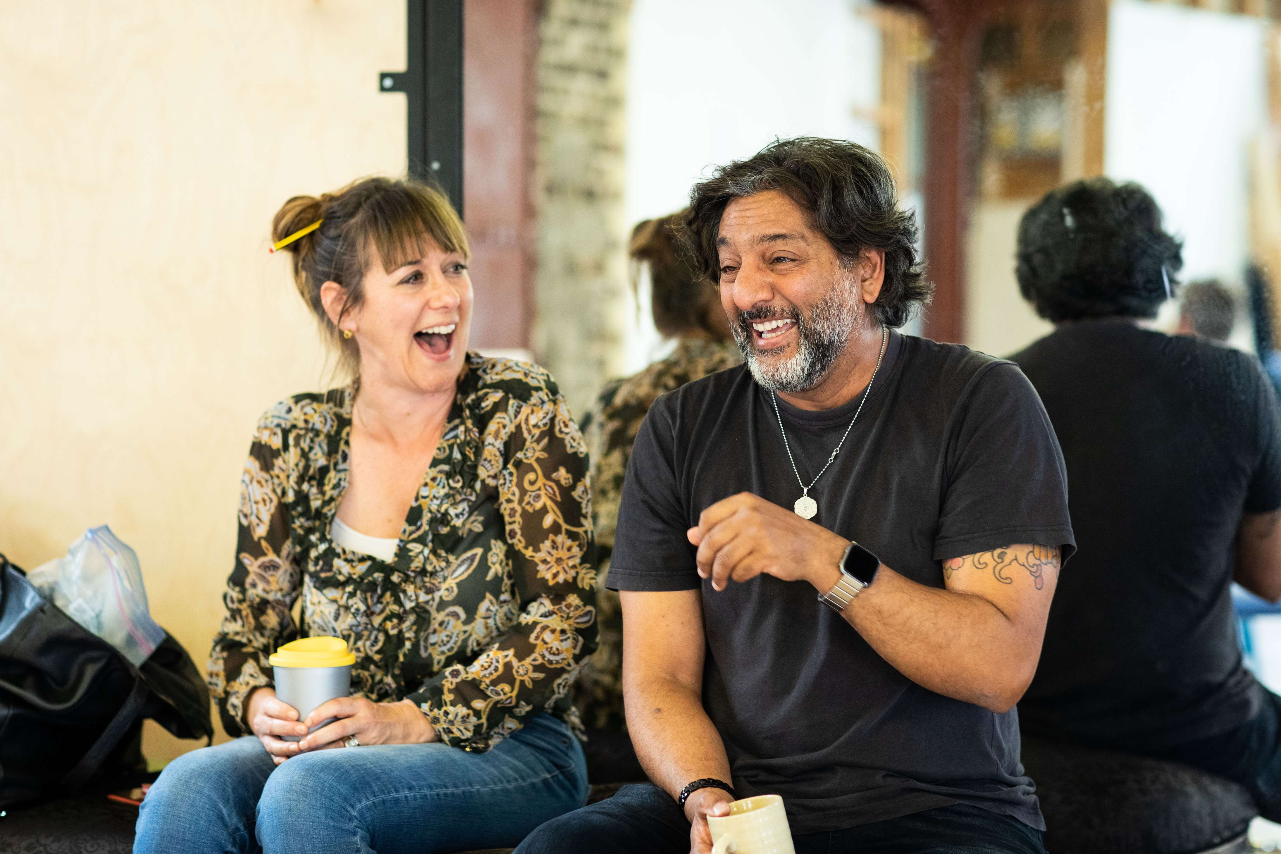 Nitin Ganatra (pictured with actress Alexandra Gilbreath) is currently starring in God's Dice at the Soho Theatre (Photo credit: Helen Maybanks)