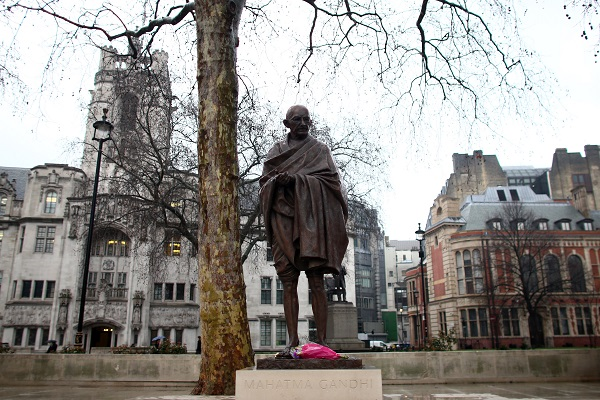 "In a comment piece in the proBrexit and pro-Boris Daily Telegraph, the Tory peer Jitesh Gadhia said: ""Gandhi's life story provides a timely reminder of why political leadership does not need to be bombastic and how public discourse can be conducted in a civilised way. At a time when these virtues are in scarce supply in British politics, it is ironic that the UK played such a significant role in Gandhi's success"". (Photo: Carl Court/Getty Images)."
