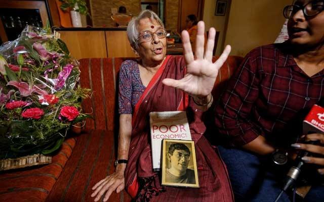 Nirmala Banerjee, mother of Abhijit Banerjee, one of the winners of 2019 Nobel Economics Prize, speaks to media at her house in Kolkata, India, October 14, 2019. REUTERS/Rupak De Chowdhuri
