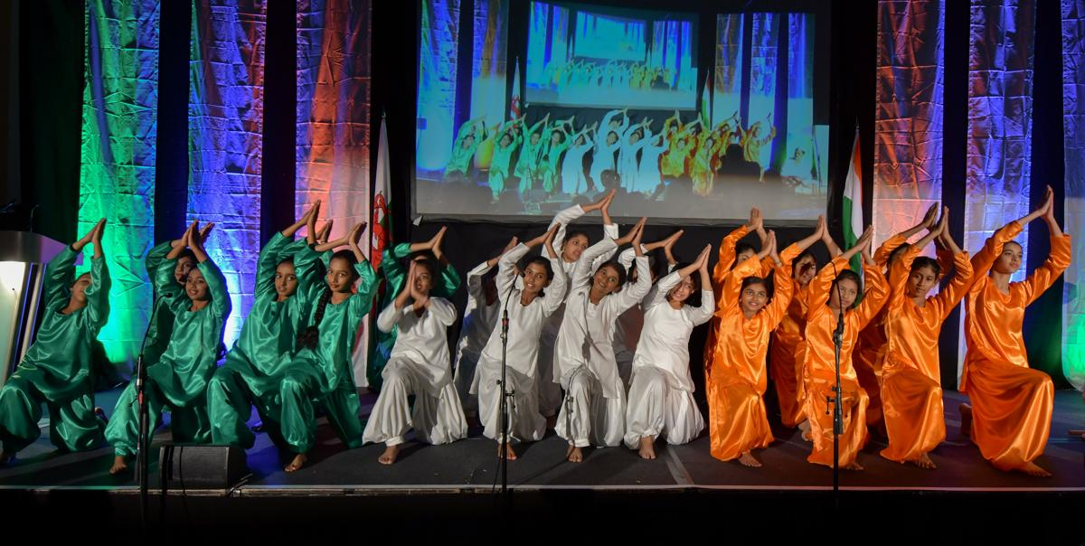 Dancers on stage during the event marking the 150th birth anniversary of Mahatma Gandhi at Cardiff City Hall in Cardiff, Wales, October 2, 2019.