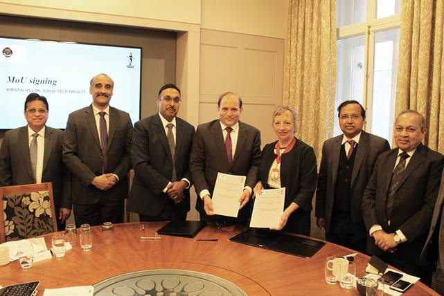 Fiona Wilkinson, president of the ICAEW (third from right) and Prafulla P. Chhajed, president of ICAI (fourth from right) with ICAI representatives during the signing of a memorandum of understanding between the two organisations at the ICAEW headquarters in London, October 2, 2019.
