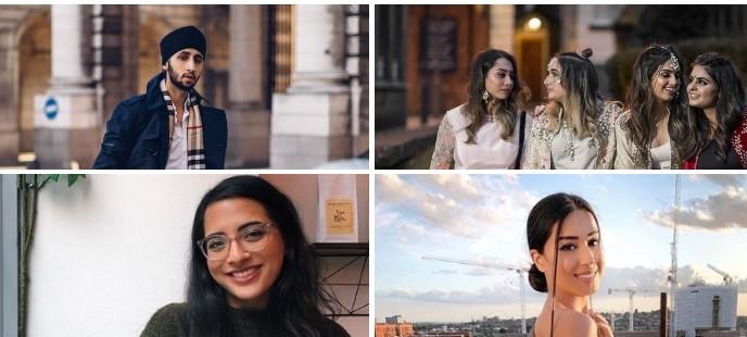Eastern Eye speaks to some of the most popular British Asian influencers on Instagram, including (clockwise from top) Raja Sapra, British Bindi, Erim Kaur and Sugarbase creator Sana Sodawala
