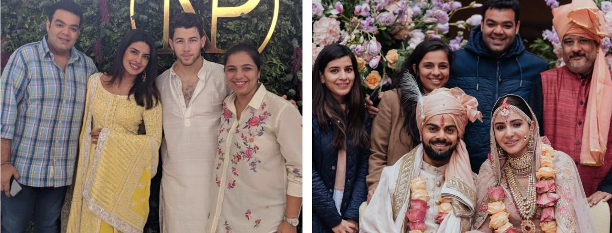 Tina Tharwani and Saurabh Malhotra with Priyanka Chopra and Nick Jonas; and with Virat Kohli and Anushka Sharma