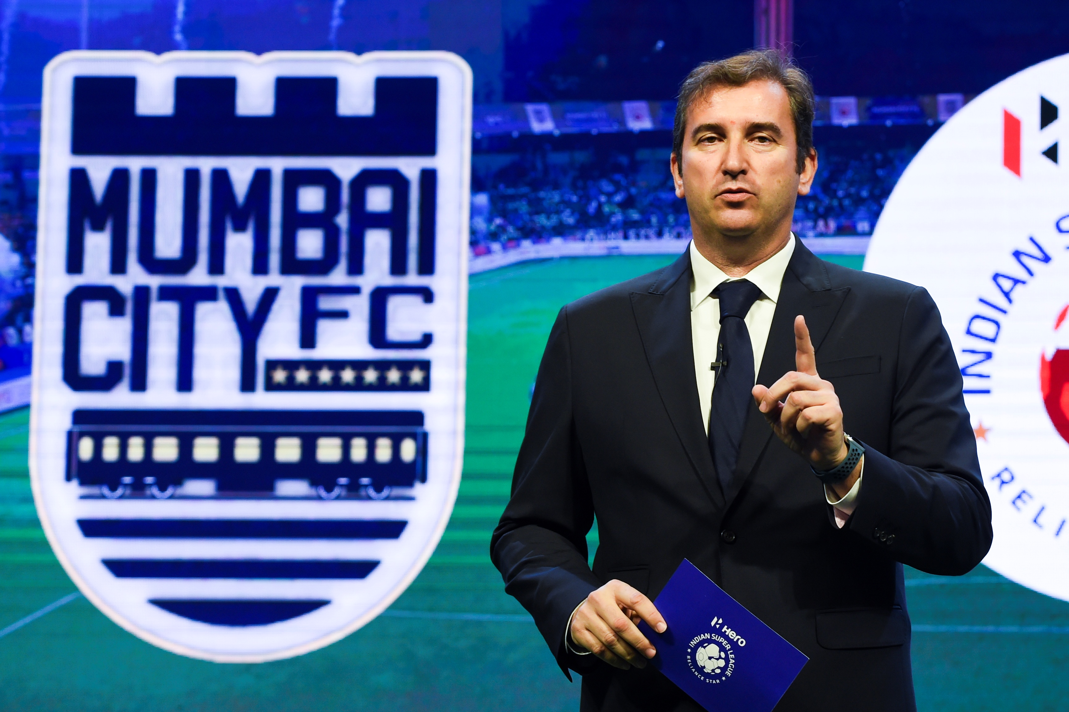 English Premier League football club Manchester City and City Football Group (CFG) CEO Ferran Soriano speaks during an event in Mumbai on November 28, 2019. - The owners of English Premier League champions Manchester City on Thursday made Mumbai City FC of India the eighth club in their global football empire. (Photo by INDRANIL MUKHERJEE / AFP) (Photo by INDRANIL MUKHERJEE/AFP via Getty Images)