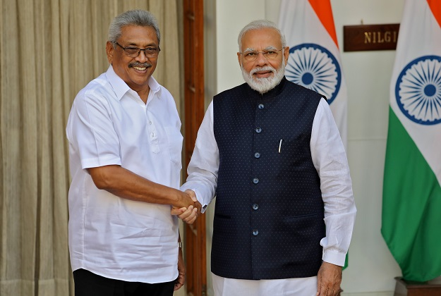 Sri Lanka's president Gotabaya Rajapaksa and India's prime minister Narendra Modi shake their hands during a photo opportunity ahead of their meeting at Hyderabad House in New Delhi, India on November 29, 2019 (REUTERS/Altaf Hussain).