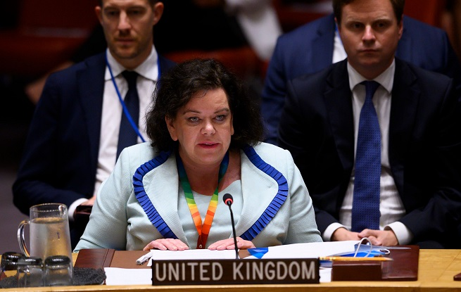 """""""No, we don't have anything scheduled on Kashmir,"""" Pierce said Friday (1) during a press conference as Britain assumed the monthly Presidency of the 15-nation top organ of the UN (Photo: JOHANNES EISELE/AFP via Getty Images)."""