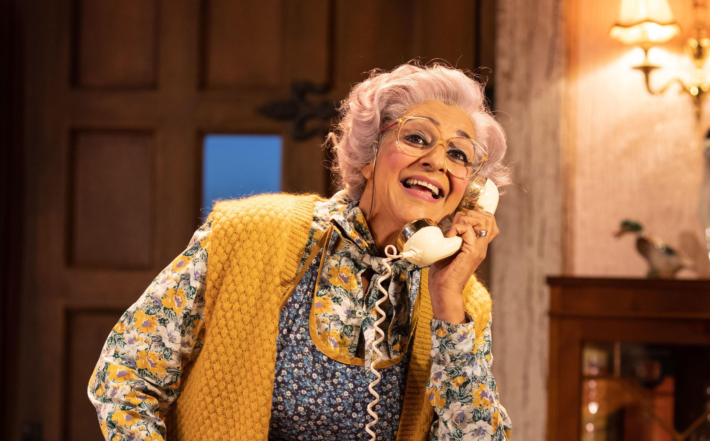 Actress Meera Syal stars as housekeeper Dotty Otley in Noises Off (Photo credit: Helen Maybanks)