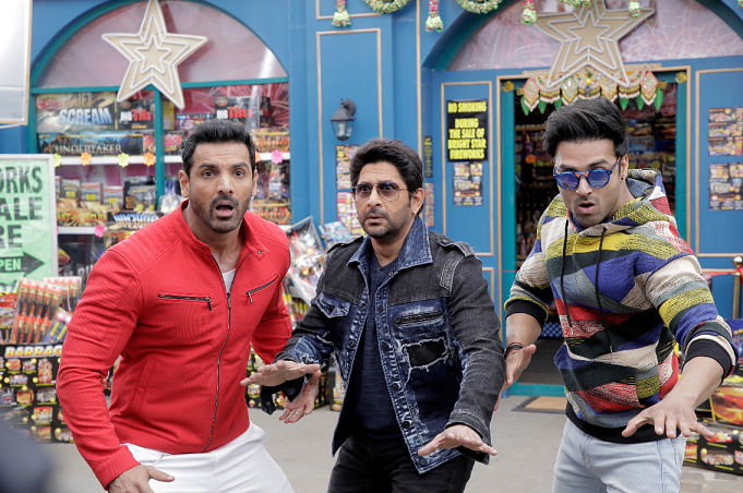 SERIOUS FUN: (From left) John Abraham, Arshad Warsi and Pulkit Samrat in Pagalpanti