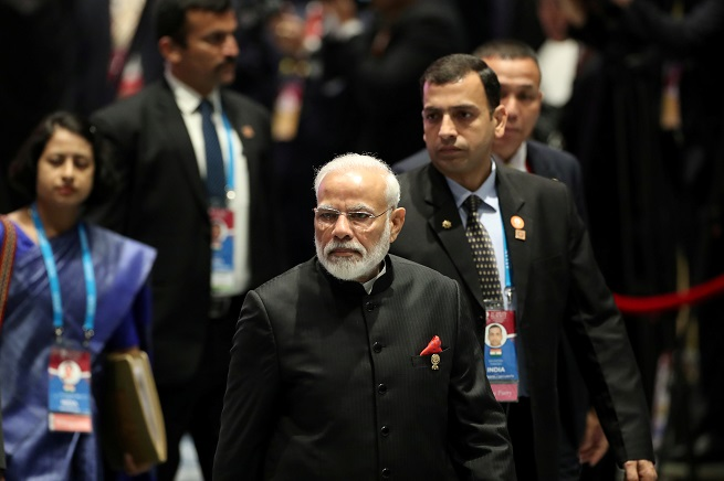 India's prime minister Narendra Modi arrives for a special lunch on sustainable development on the sidelines of the ASEAN summit in Bangkok, Thailand, November 4, 2019 (REUTERS/Soe Zeya Tun).
