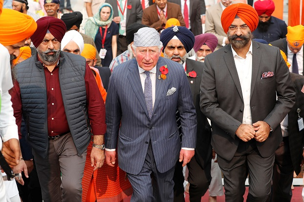 Britain's Prince Charles arrives to visit a Gurudwara (Sikh temple) in New Delhi, India, November 13, 2019. REUTERS/Adnan Abidi