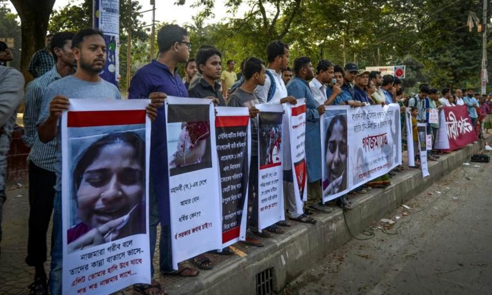 Activists form a human chain in Dhaka to protest and raise awareness for Bangladeshi female migrant workers that can face various forms of abuse, including physical, psychological and even sexual abuse by employers in Saudi Arabia