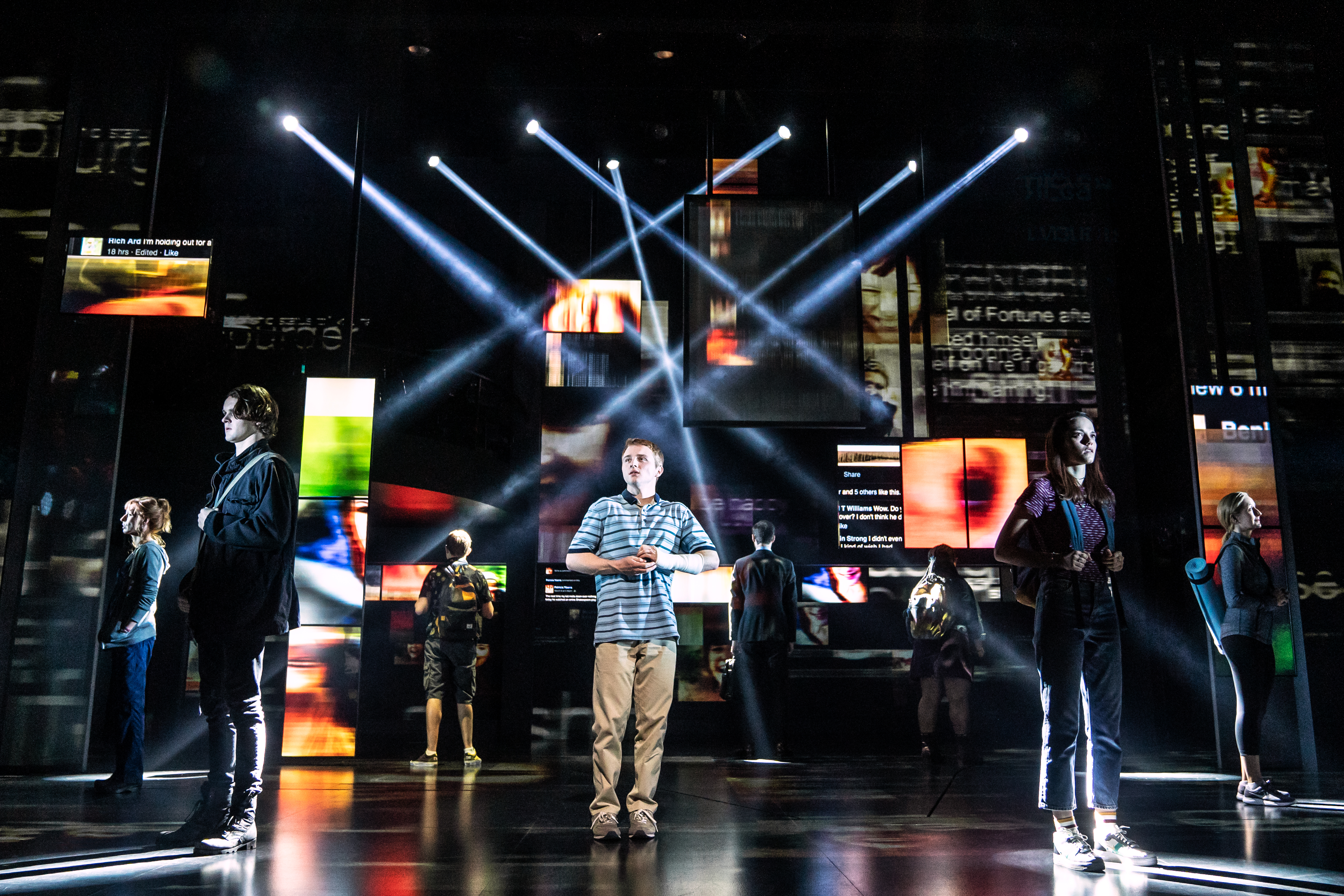 Dear Evan Hansen stars Sam Tutty (centre) as a depressed, isolated teenager in the latest musical to hit the west end (Photo credit: Matthew Murphy)